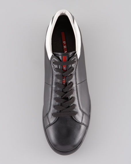 Contrast-Counter Leather Sneaker, Black