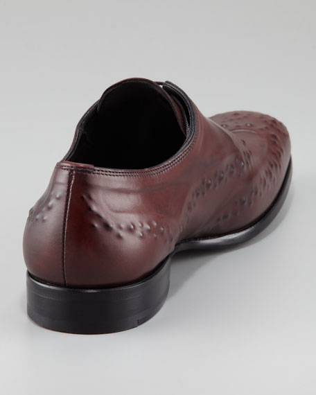 Reverse-Embossed Lace-Up, Oxblood
