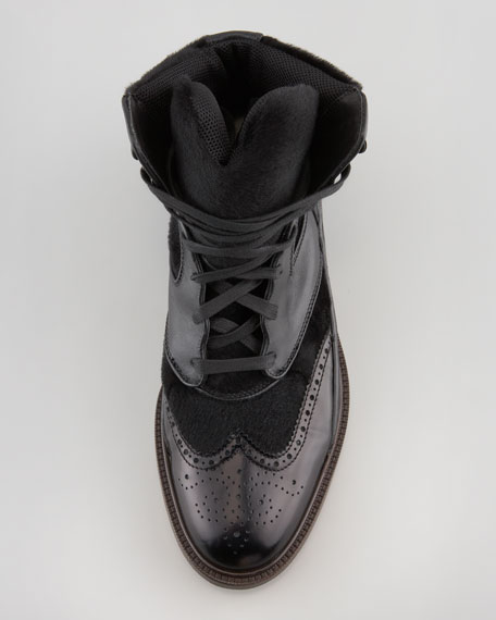 Leather & Shearling Fur Podium Boot