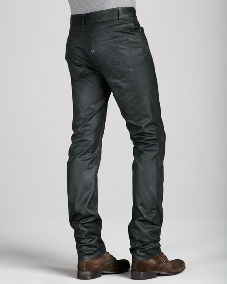 Coated Dark Green Jeans