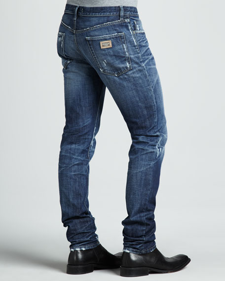 Distressed Dark Jeans