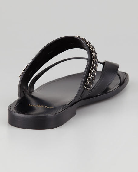 Chain-Trim Toe-Ring Sandal