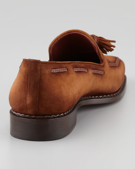 Suede Tassel Loafer, Cognac