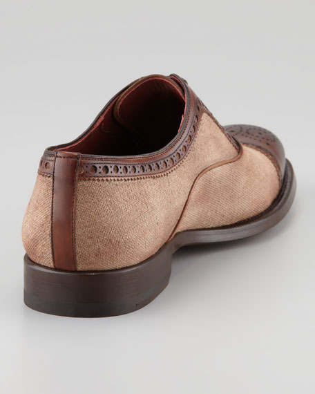 Two-Tone Lace-Up Oxford, Cognac