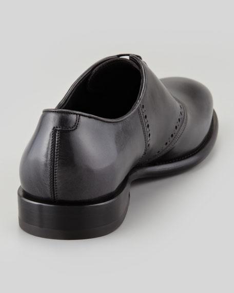 Serafino Shiny Leather Lace-Up Oxford, Gray/Black