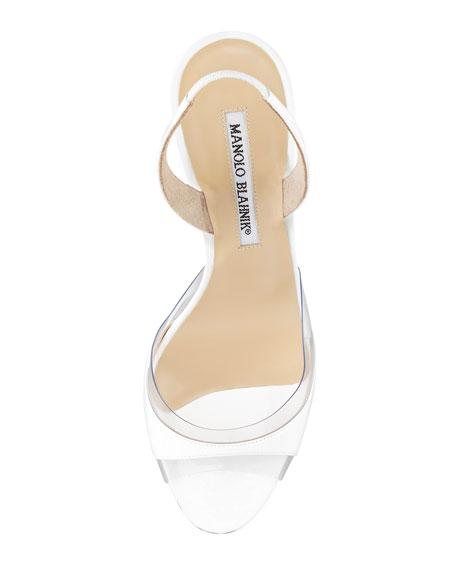 Lucymod Patent-PVC Slingback Sandal, White