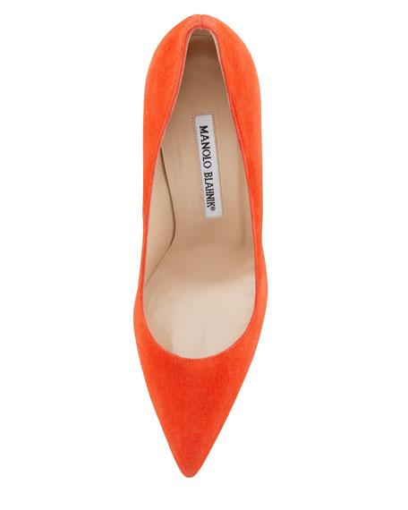 BB Point-Toe Suede Pump, Orange