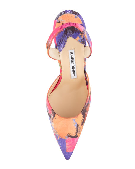 Carolyne Color-Splash Satin High-Heel Pump, Multi