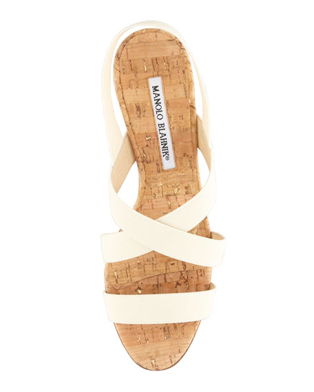 Militante Slip-On Halter Slingback Sandal, Cream