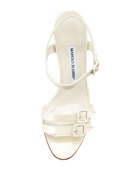 Domanda Patent Buckled Mid-Heel Sandal, Ivory