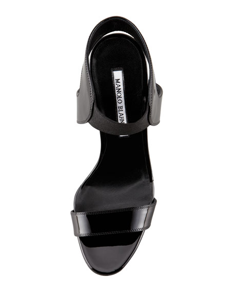 Pepewe Patent Elastic Wedge Sandal, Black