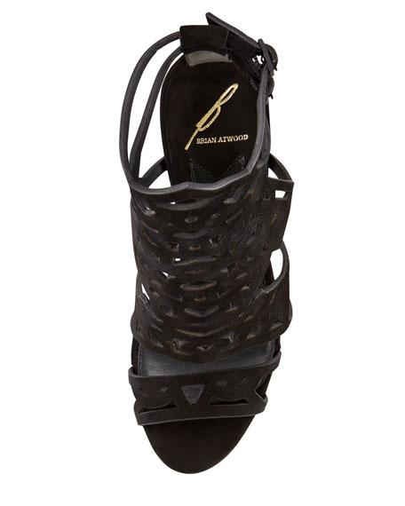 Cutout Suede Sandal, Black
