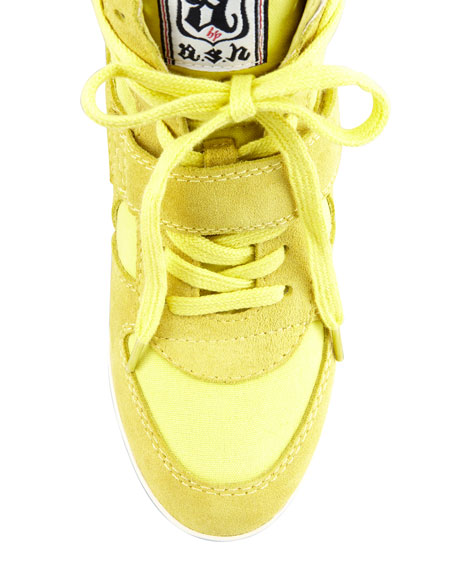 Bowie High-Top Wedge Sneaker, Bright Yellow