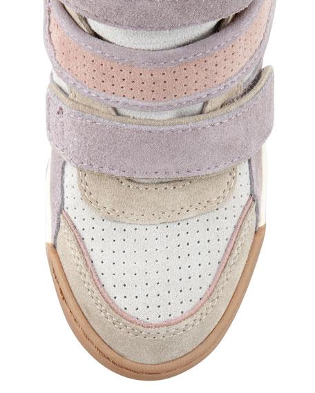 Alex 3-Tone Wedge Sneaker, Neutral/Lavender/Multicolor