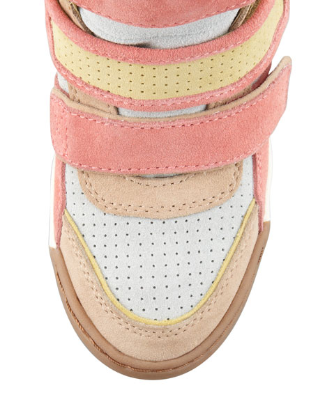 Alex 3-Tone Wedge Sneaker, Yellow/Pink/Multicolor