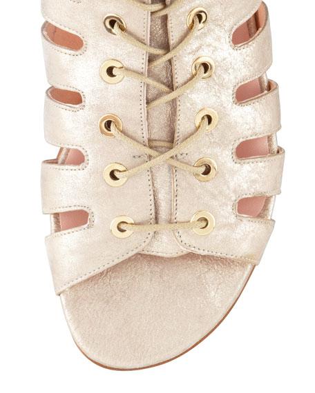 Pantheon Flat Gladiator Sandal, Gold