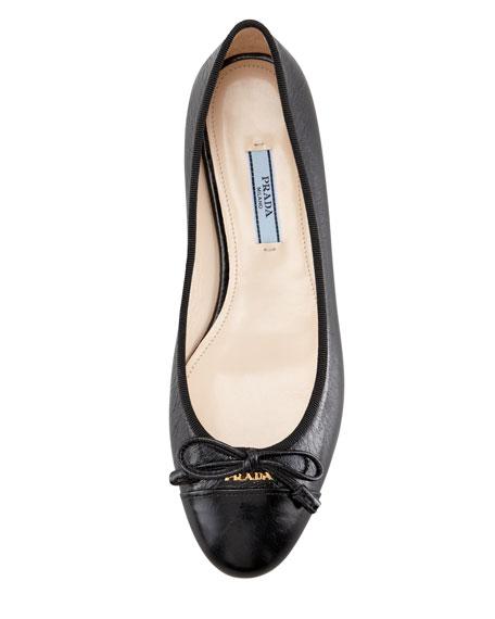 Cap-Toe Bow Ballerina Flat