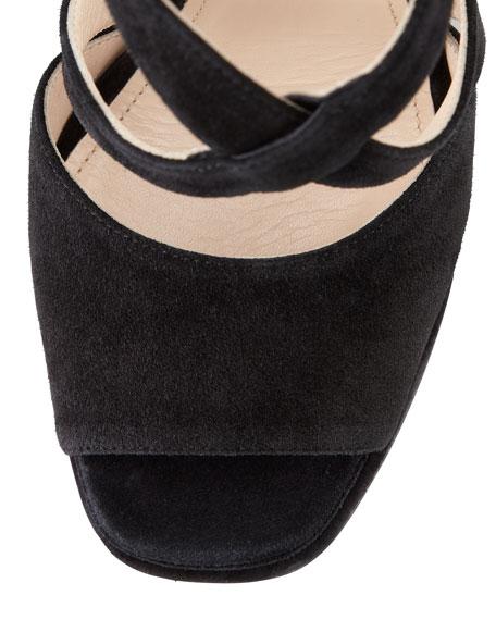 Suede Crisscross Platform Sandal, Black