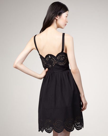 Palmetto Eyelet Dress, Black