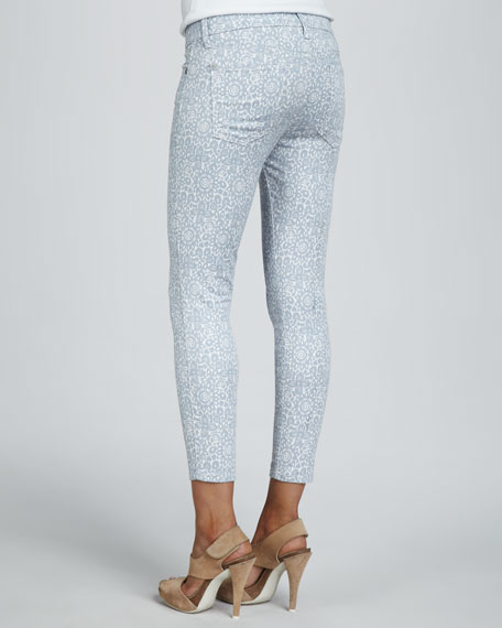 Skinny Victorian Lace-Print Cropped Jeans
