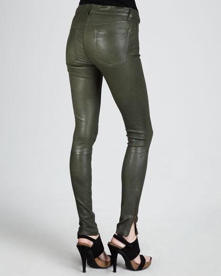 The Skinny Zip-Cuff Leather Leggings, Military Green