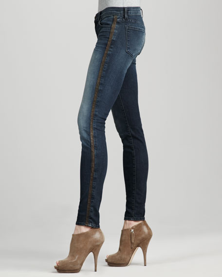 8220 Kacie Mid-Rise Leather-Side Skinny Jeans