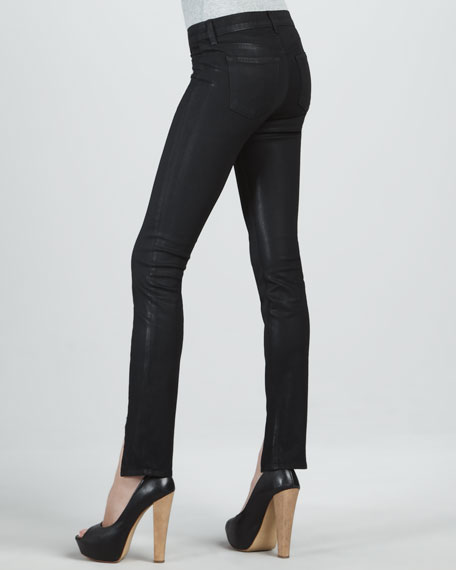 Stealth Coated Mid-Rise Skinny Jeans