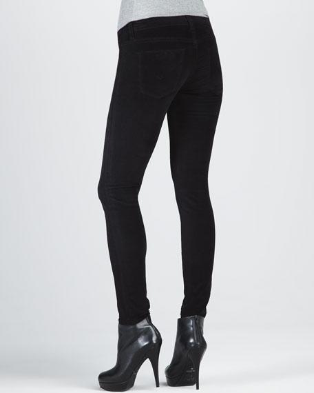 Krista Black Velvet Super Skinny Jeans