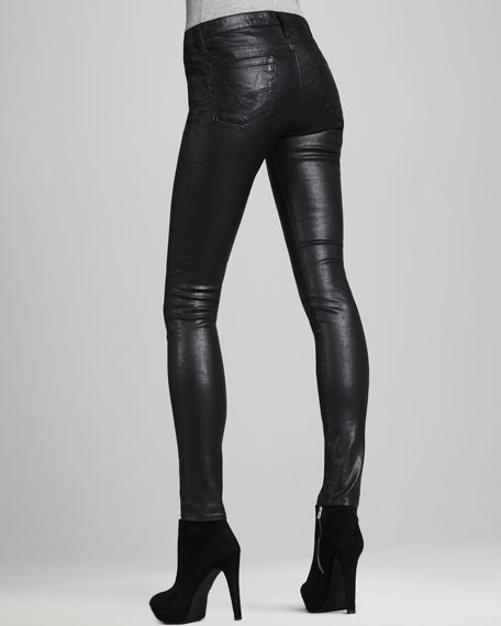 Faux-Leather Leggings, Black
