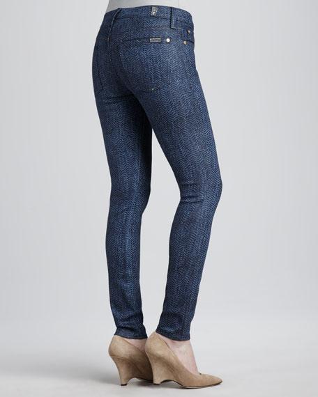 Herringbone Coated Skinny Jeans