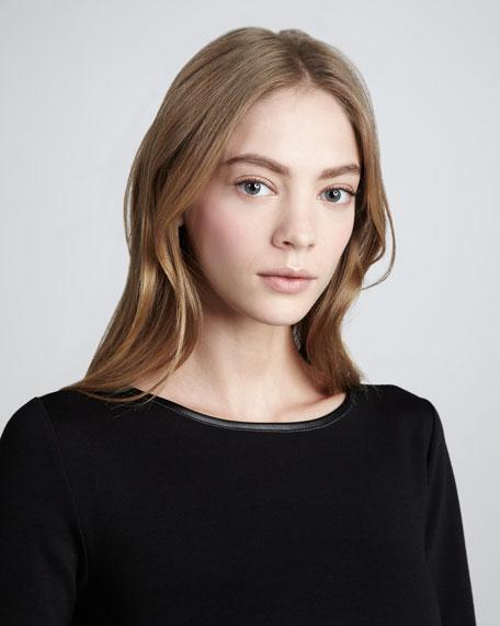 Leather-Skirt Ponte Dress