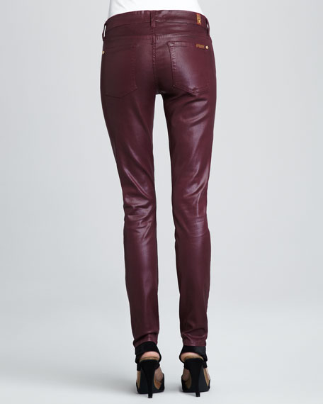Skinny High-Shine Gummy Jeans, Wine