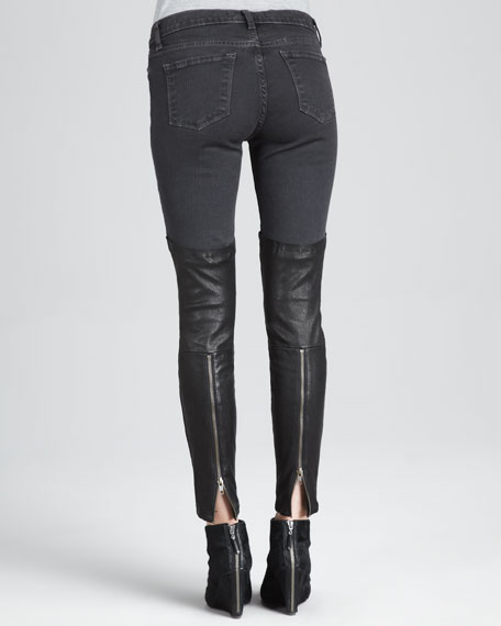 Minx Pistol Skinny Leather-Panel Jeans