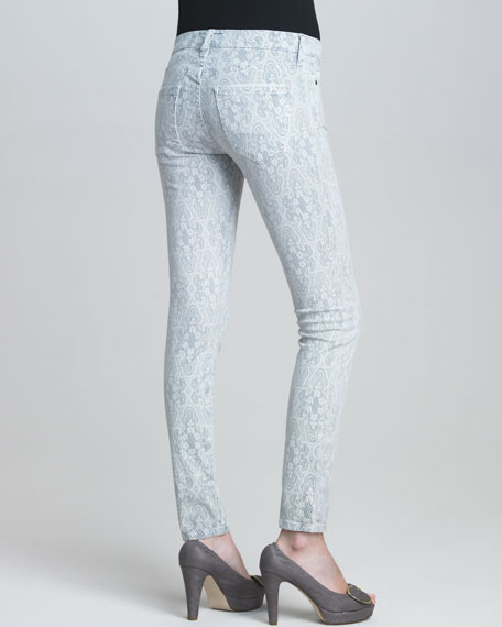 The Low-Rise Ankle Skinny Gray Lace-Print Jeans