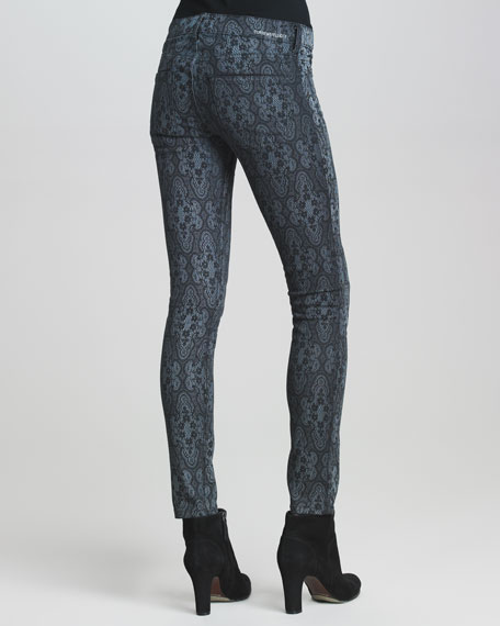 The Low-Rise Ankle Skinny Black Lace-Print Jeans
