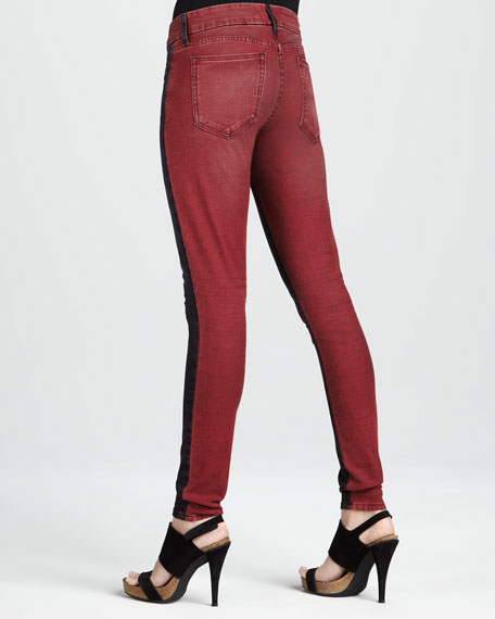 Skinny Red Tinted Colorblock Jeans