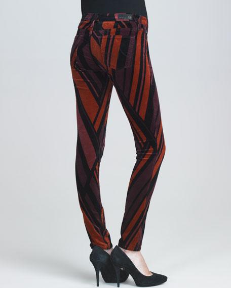 Super Skinny Red Prism-Print Velvet Leggings