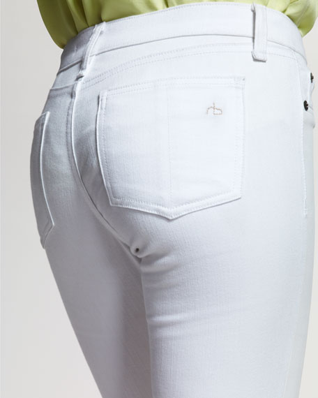 The Hyde Leather-Front Skinny Jeans, Bright White