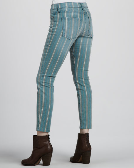 The Low Rise Stiletto Jeans, Turquoise Pinstripe