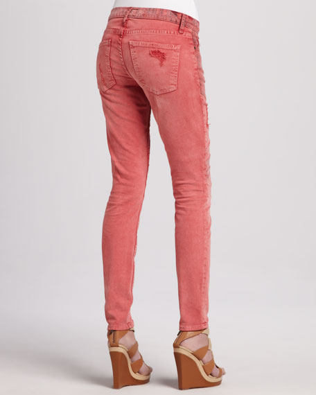 The Moto Coral Low-Rise Skinny Jeans