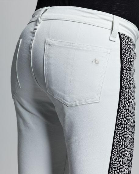 Split Skinny Embroidered Jeans