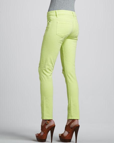 Skyline Ankle Peg Jeans, Neon Citron