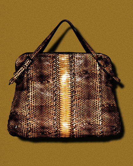 Snakeskin Top-Handle Bag