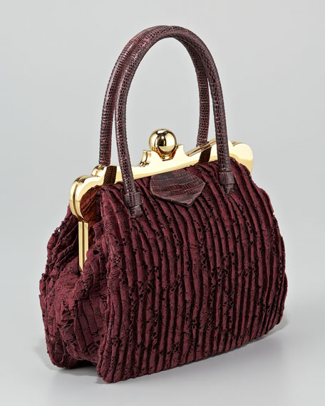 Lizard-Handle Lace Frame Bag