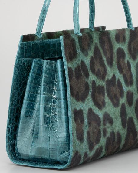 Leopard-Print Calf Hair & Croc Tote Bag
