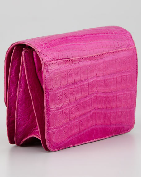 Front-Flap Crocodile Crossbody Bag, Pink