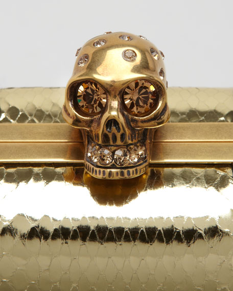 Snakeskin Skull-Clasp Clutch Bag, Gold