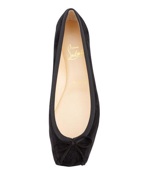 replica shoes christian louboutin - Christian Louboutin Rosel Suede Square-Toe Ballerina Flat, Black