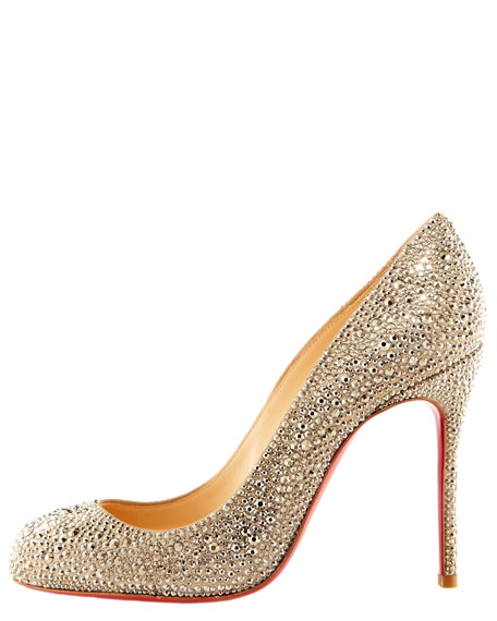 Crystal-Encrusted Suede Pump