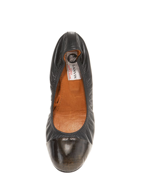 Print-Capped Ballerina Flat